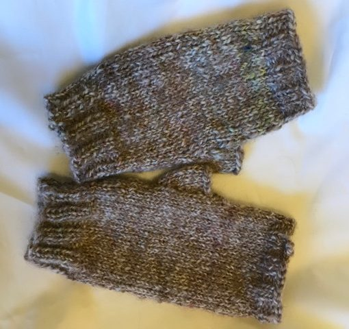 handspun cream and white fingerless mitts